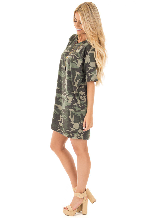 Camouflage Short Sleeve T-Shirt Dress with Hidden Pockets side full body