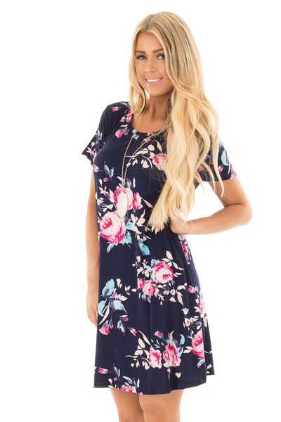 Navy Floral Cap Sleeves Dress with Side Pockets front close up