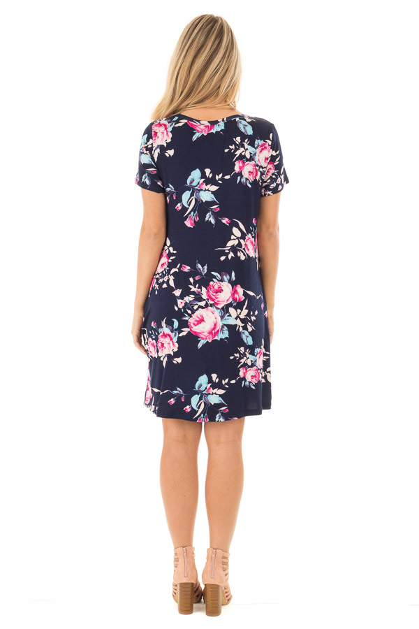Navy Floral Cap Sleeves Dress with Side Pockets back full body