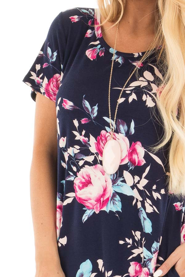Navy Floral Cap Sleeves Dress with Side Pockets detail