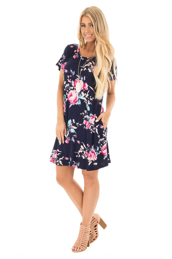 Navy Floral Cap Sleeves Dress with Side Pockets front full body