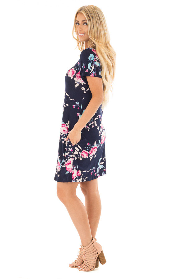 Navy Floral Cap Sleeves Dress with Side Pockets side full body