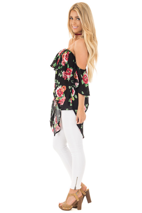 Black Floral Hi-Low Off the Shoulder Top side full body