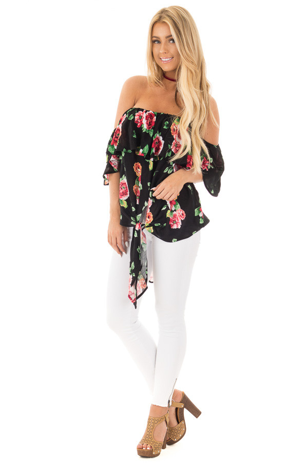 Black Floral Hi-Low Off the Shoulder Top front full body
