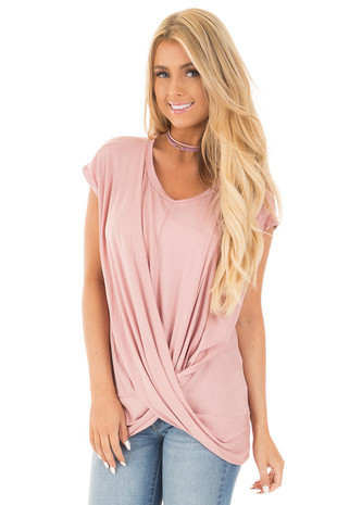 Dusty Pink Scoop Neck with Cross Over Detail Top front close up