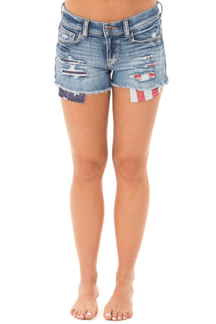 Medium Wash American Distressed Shorts with Exposed Pockets front view