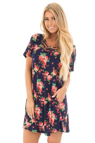 Navy Floral Criss Cross Short Dress with Side Pockets front close up