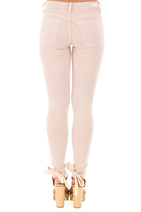 Blush Mid Rise Ankle Skinny Jeans with Slashed Knee Detail back view