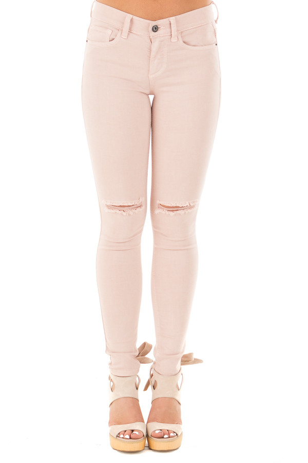 Blush Mid Rise Ankle Skinny Jeans with Slashed Knee Detail front view