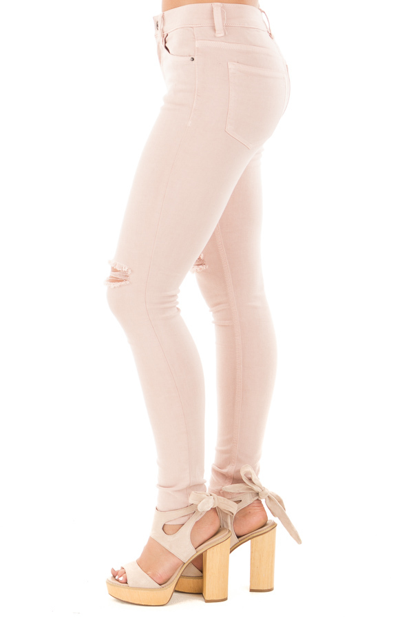 Blush Mid Rise Ankle Skinny Jeans with Slashed Knee Detail side left leg