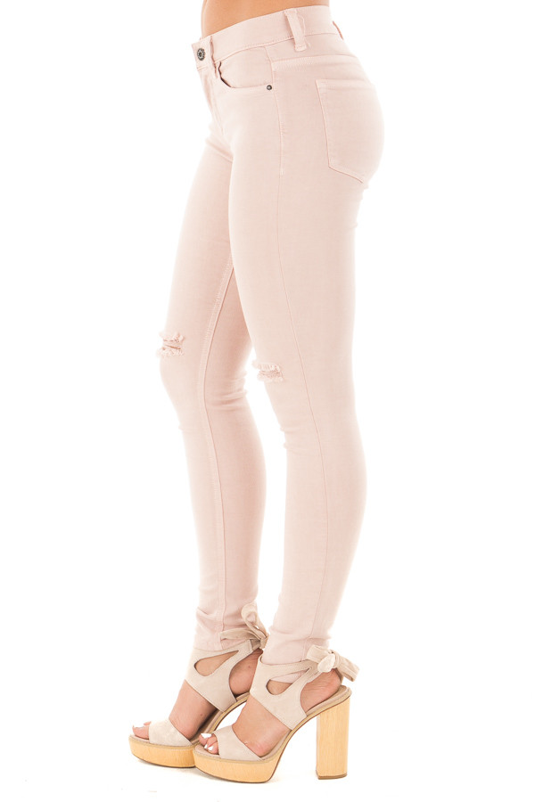 Blush Mid Rise Ankle Skinny Jeans with Slashed Knee Detail side right leg