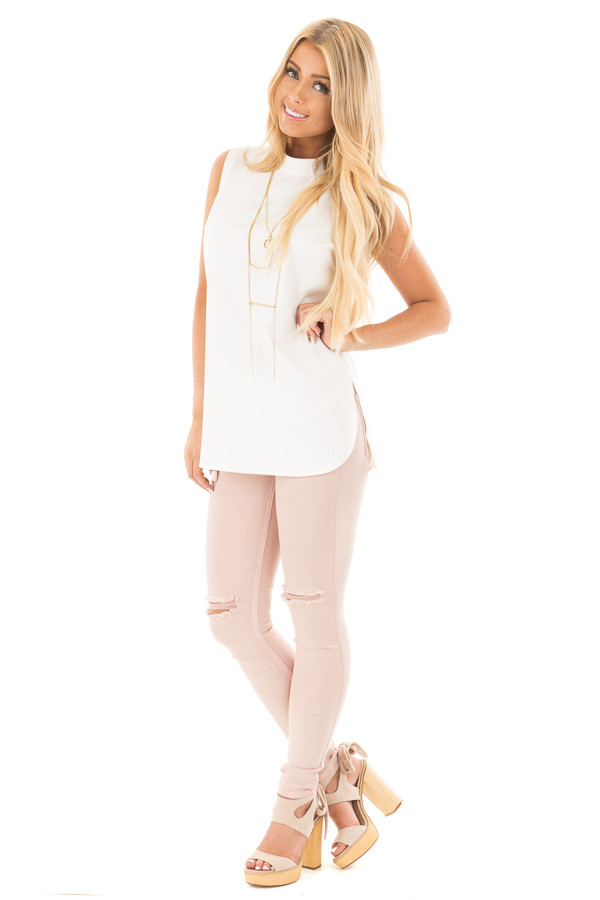 Blush Mid Rise Ankle Skinny Jeans with Slashed Knee Detail front full body