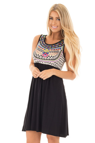 Black Multicolor Geometric Print Contrast Dress front close up