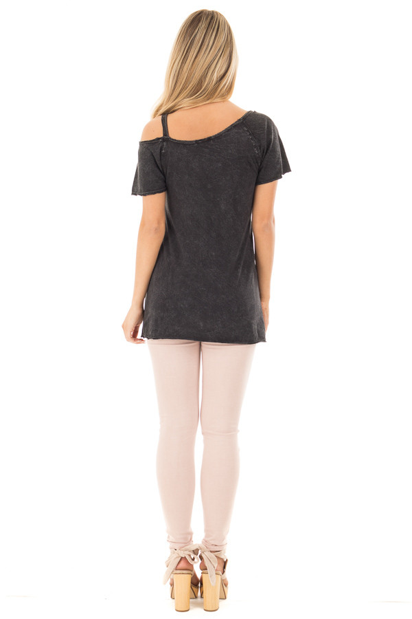 Black Mineral Wash 'Nothing to Wear' One Cold Shoulder Tee back full body