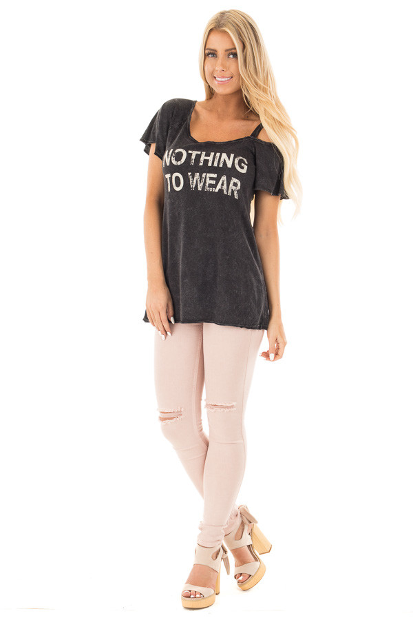 Black Mineral Wash 'Nothing to Wear' One Cold Shoulder Tee front full body