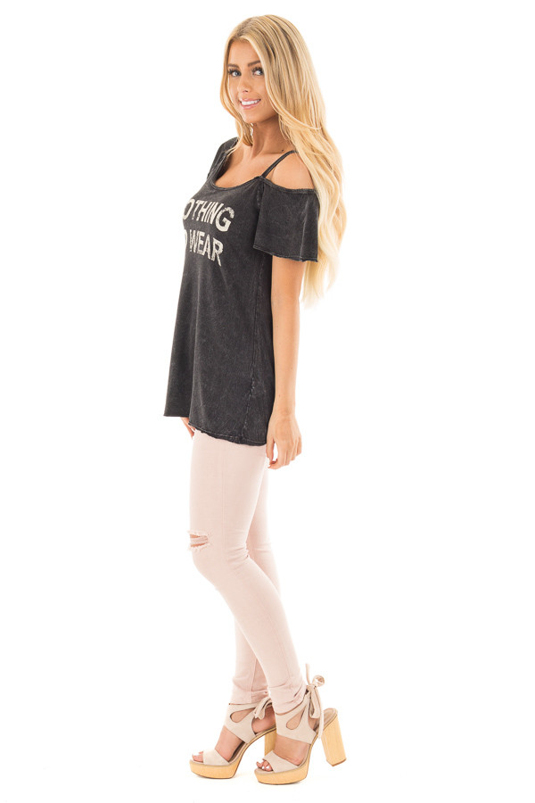 Black Mineral Wash 'Nothing to Wear' One Cold Shoulder Tee side full body