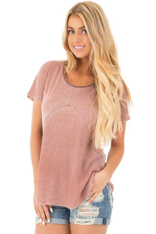 Dusty Mauve Mineral Wash Tee with Waffle Knit Contrast front close up