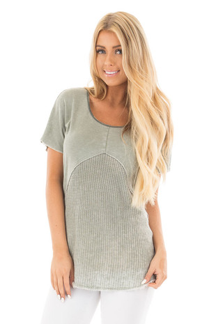 Dusty Sage Mineral Wash Tee with Waffle Knit Contrast front close up