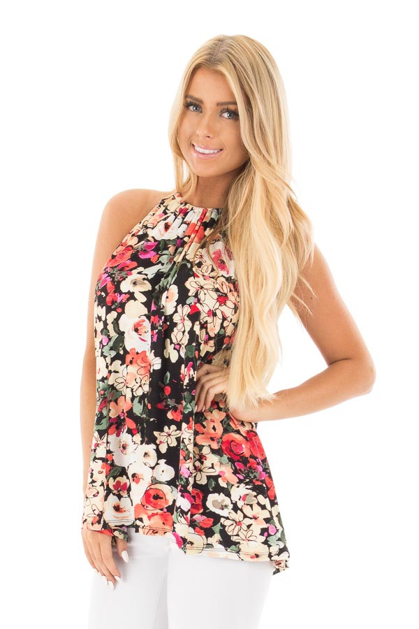 Black Multi Floral Halter Top with Open Back Detail front close up