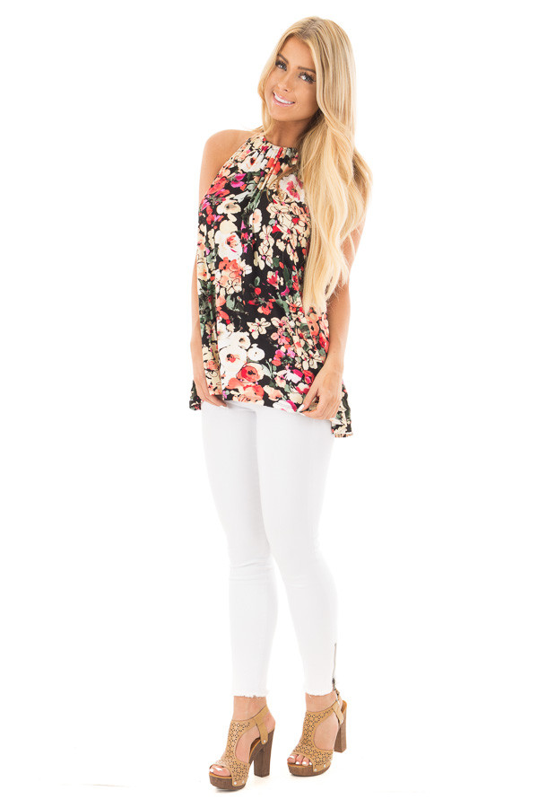 Black Multi Floral Halter Top with Open Back Detail front full body