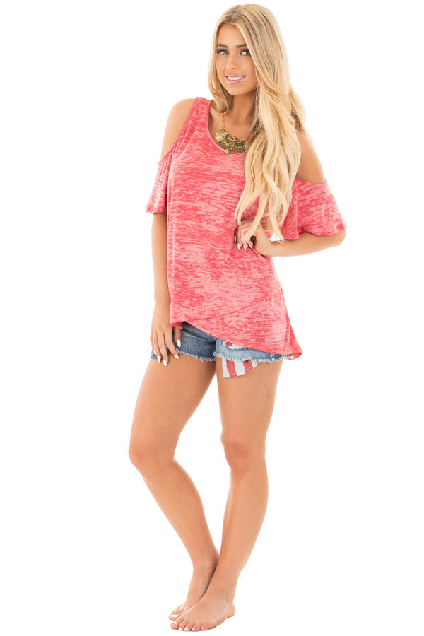Coral Mineral Wash Cold Shoulder Top with Overlapping Detail front full body