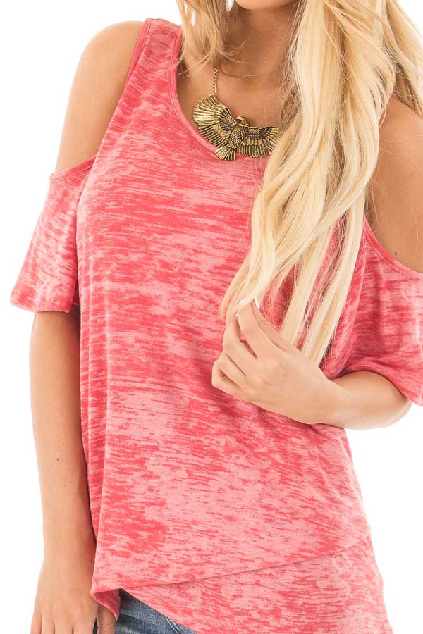 Coral Mineral Wash Cold Shoulder Top with Overlapping Detail detail