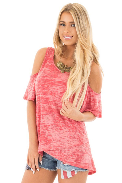 Coral Mineral Wash Cold Shoulder Top with Overlapping Detail front close up