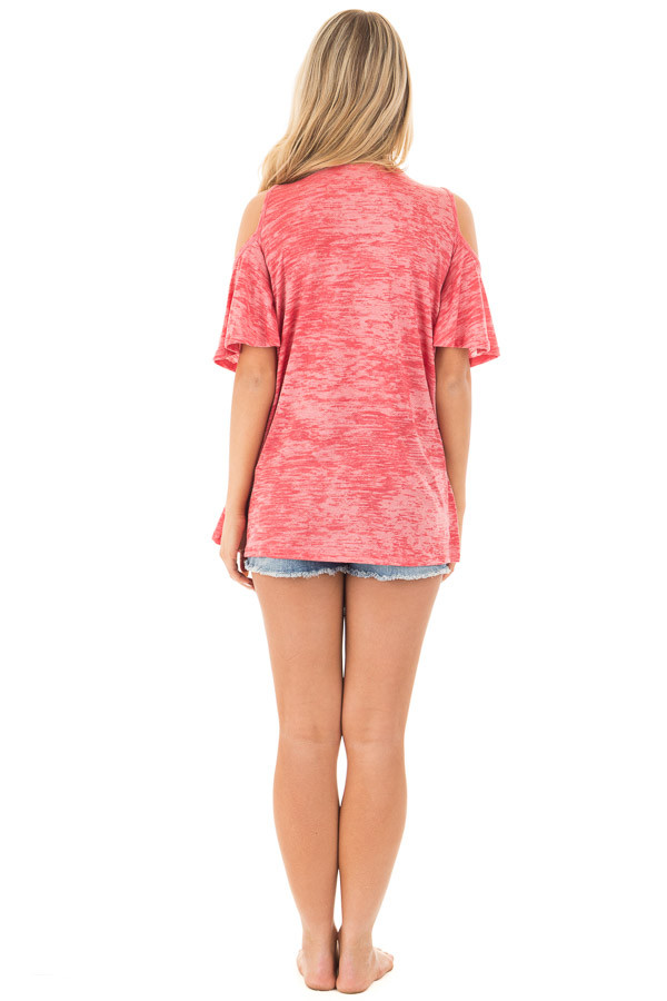 Coral Mineral Wash Cold Shoulder Top with Overlapping Detail back full body