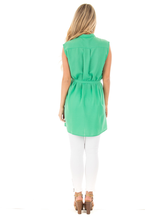 Kelly Green Sleeveless Short Dress with Belt Tie back full body