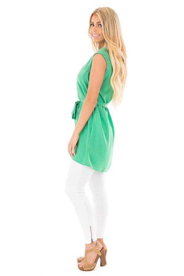 Kelly Green Sleeveless Short Dress with Belt Tie side full body