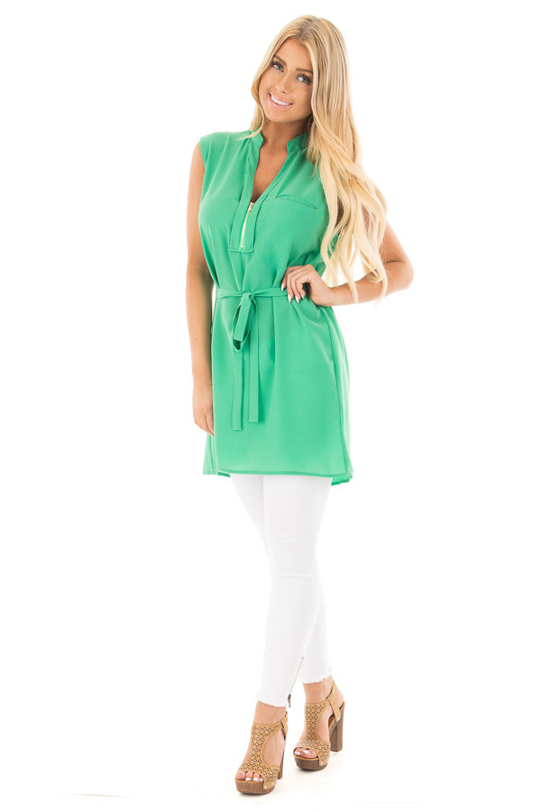 Kelly Green Sleeveless Short Dress with Belt Tie font full body
