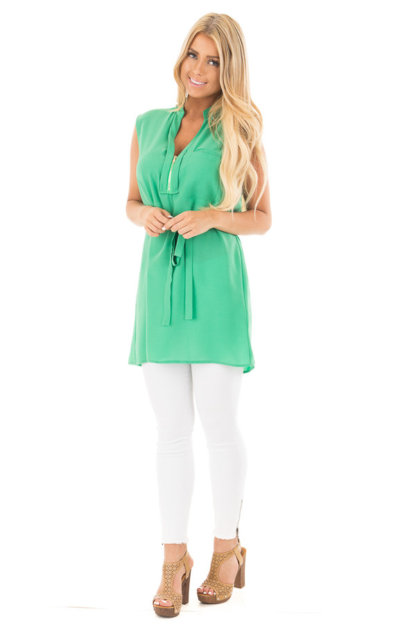 Kelly Green Sleeveless Short Dress with Belt Tie front full body
