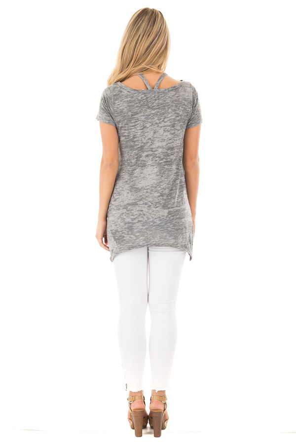 Heather Grey Mineral Wash Criss Cross Asymmetrical Top back full body