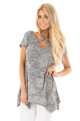 Heather Grey Mineral Wash Criss Cross Asymmetrical Top front close up