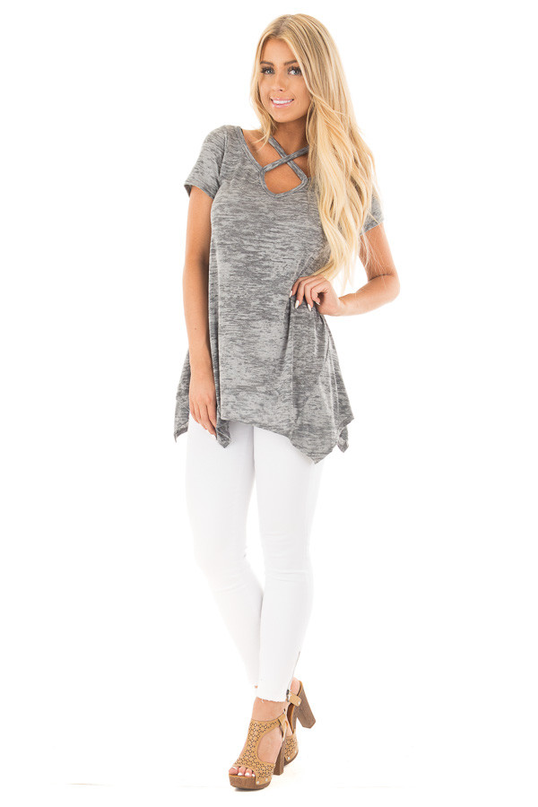 Heather Grey Mineral Wash Criss Cross Asymmetrical Top front full body