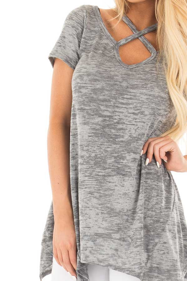Heather Grey Mineral Wash Criss Cross Asymmetrical Top front detail