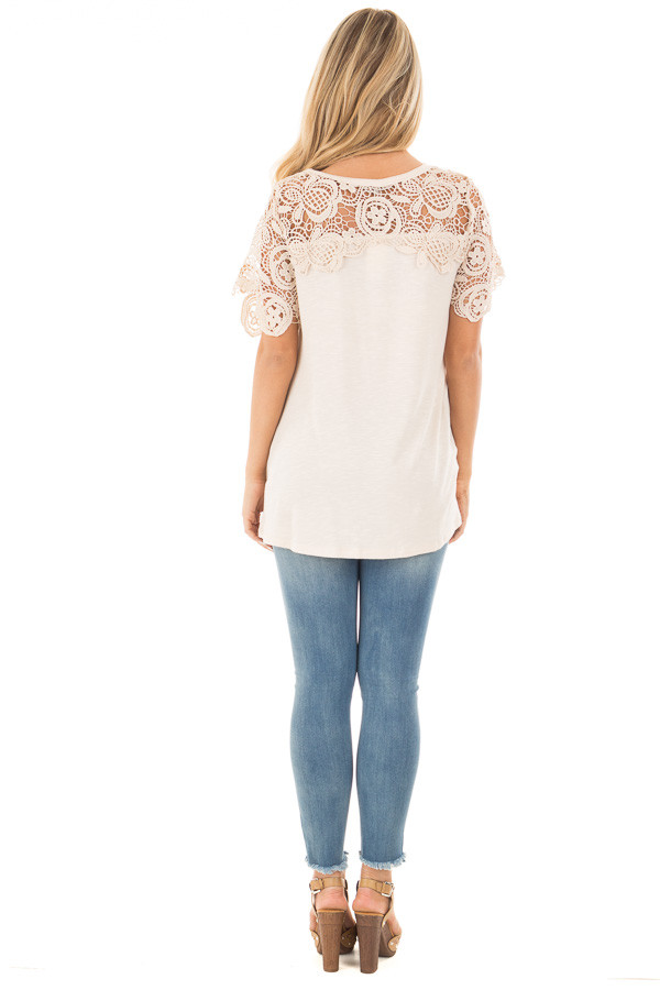 Cream Short Sleeve Floral Lace Yoke Top back full body