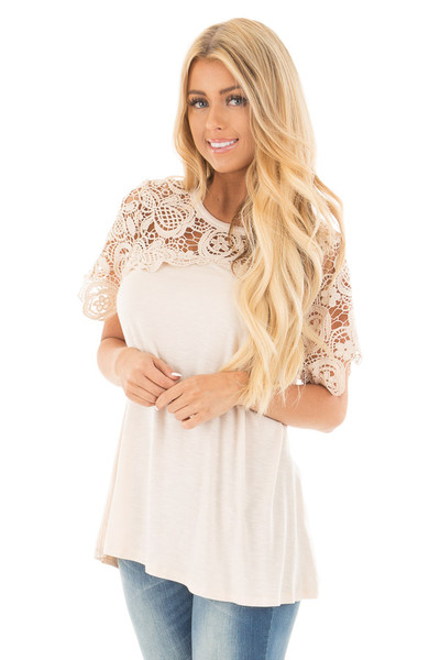 Cream Short Sleeve Floral Lace Yoke Top front close up
