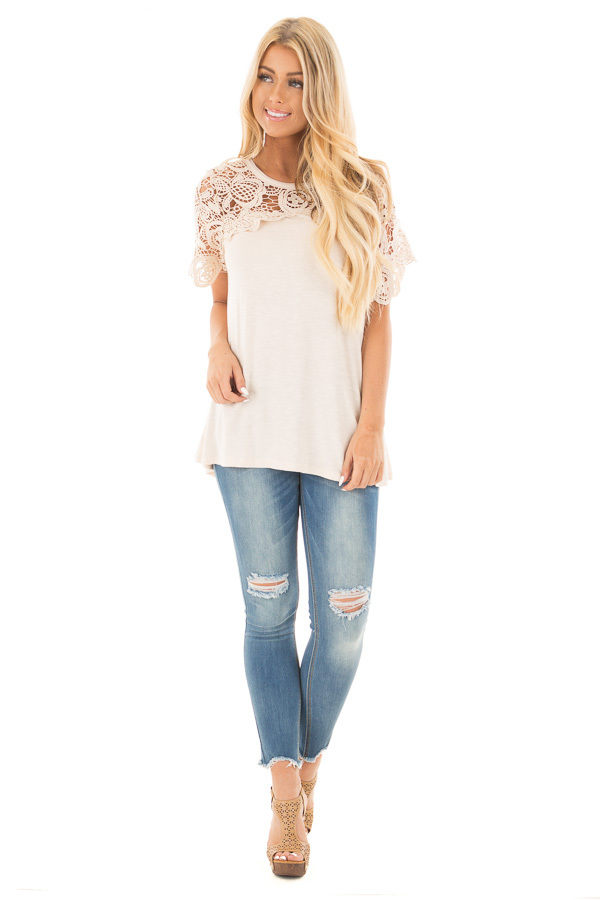 Cream Short Sleeve Floral Lace Yoke Top front full body