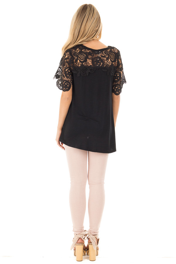 Black Short Sleeve Floral Lace Yoke Top back full body