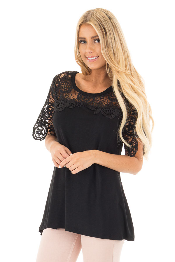 Black Short Sleeve Floral Lace Yoke Top front close up
