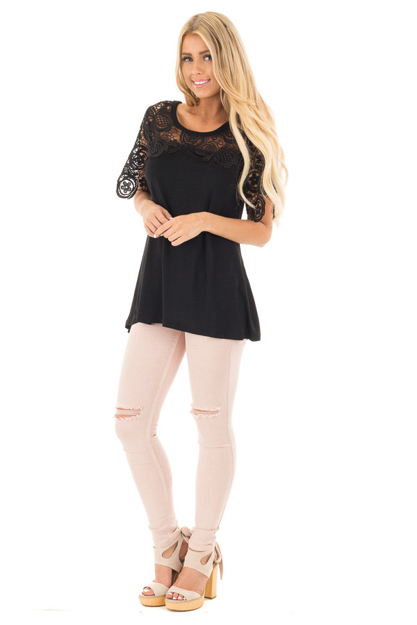 Black Short Sleeve Floral Lace Yoke Top front full body