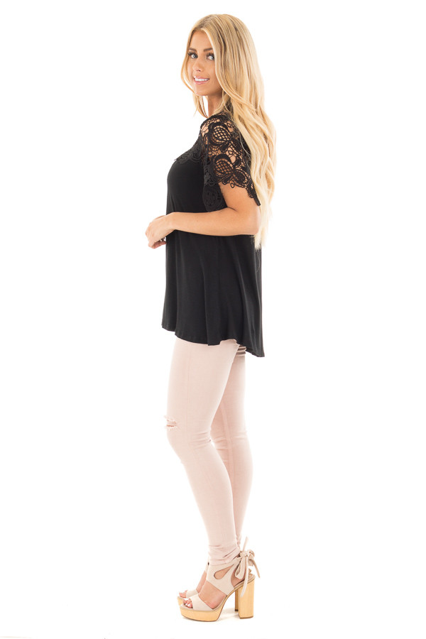 Black Short Sleeve Floral Lace Yoke Top side full body