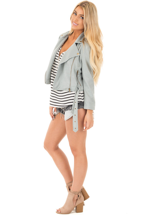 Dusty Blue Soft Zip Up Gypsy Suede Comfy Moto Jacket side full body