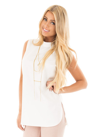Pearl White Mock Neck Sleeveless Top with Side Slits front close up