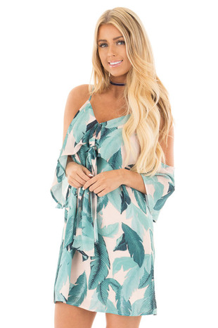 Nude Leaf Print Cold Shoulder V Neck Dress front close up