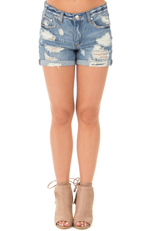 Denim Destroyed Boyfriend Shorts with Cuffed Hem front view