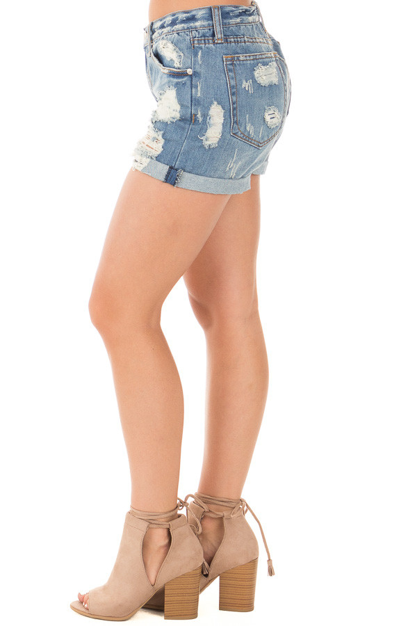 Denim Destroyed Boyfriend Shorts with Cuffed Hem side left leg
