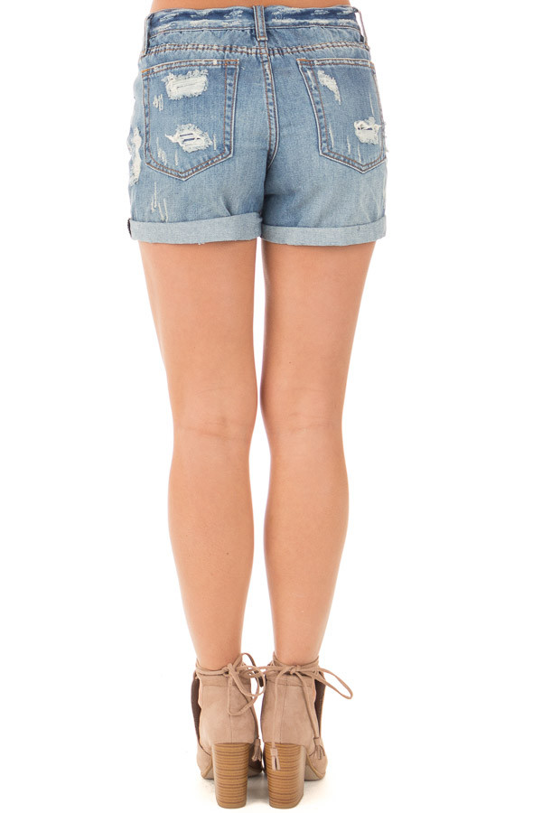 Denim Destroyed Boyfriend Shorts with Cuffed Hem back view