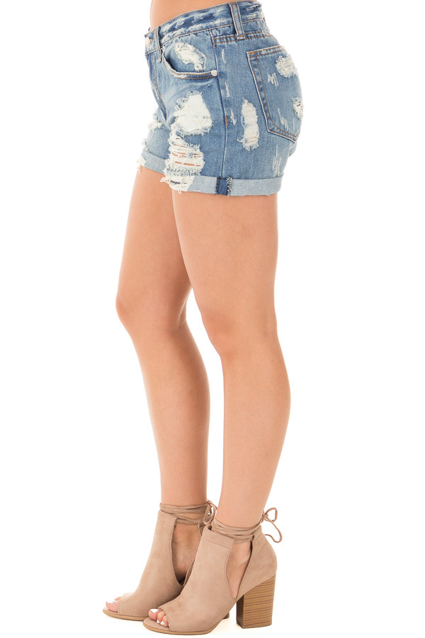 Denim Destroyed Boyfriend Shorts with Cuffed Hem side right leg